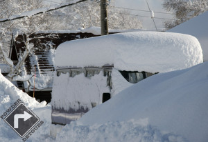 A typical overnight snowfall in Hokkaido