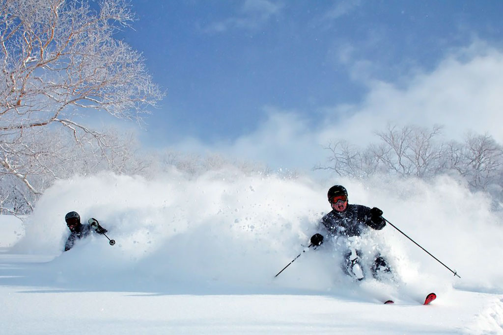 two skiers in deel japanese powder - powderdetours.com