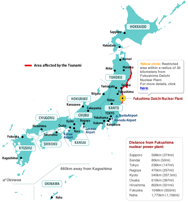 Tsunami affected areas of Japan